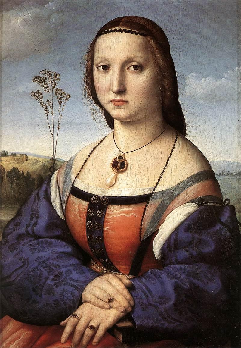 Maddalena Doni - Rafael Sanzio - Galería Palatina, Palacio Pitti, Florencia. Maddalena Strozzi se casó con Agnolo Doni en 1503 y fue retratada poco después de la llegada de Rafael a Florencia. El artista era muy joven y estaba totalmente empapado de la tradición umbra, sobre la que había perfeccionado las primeras adquisiciones de la pintura de Urbino. En Maddalena Doni, por tanto, combina un carácter de sencillez y un cierto convencionalismo en la expresión con el sentido de una forma sólida y estática. Todo ello es representado sobre el modelo de la Gioconda, por la que Rafael demuestra respeto reverente, pero también una evidente conflictividad. A diferencia de Mona Lisa, Maddalena lleva joyas y ropas que denotan su rango: el personaje es así identificado en el plano social antes que en el natural.